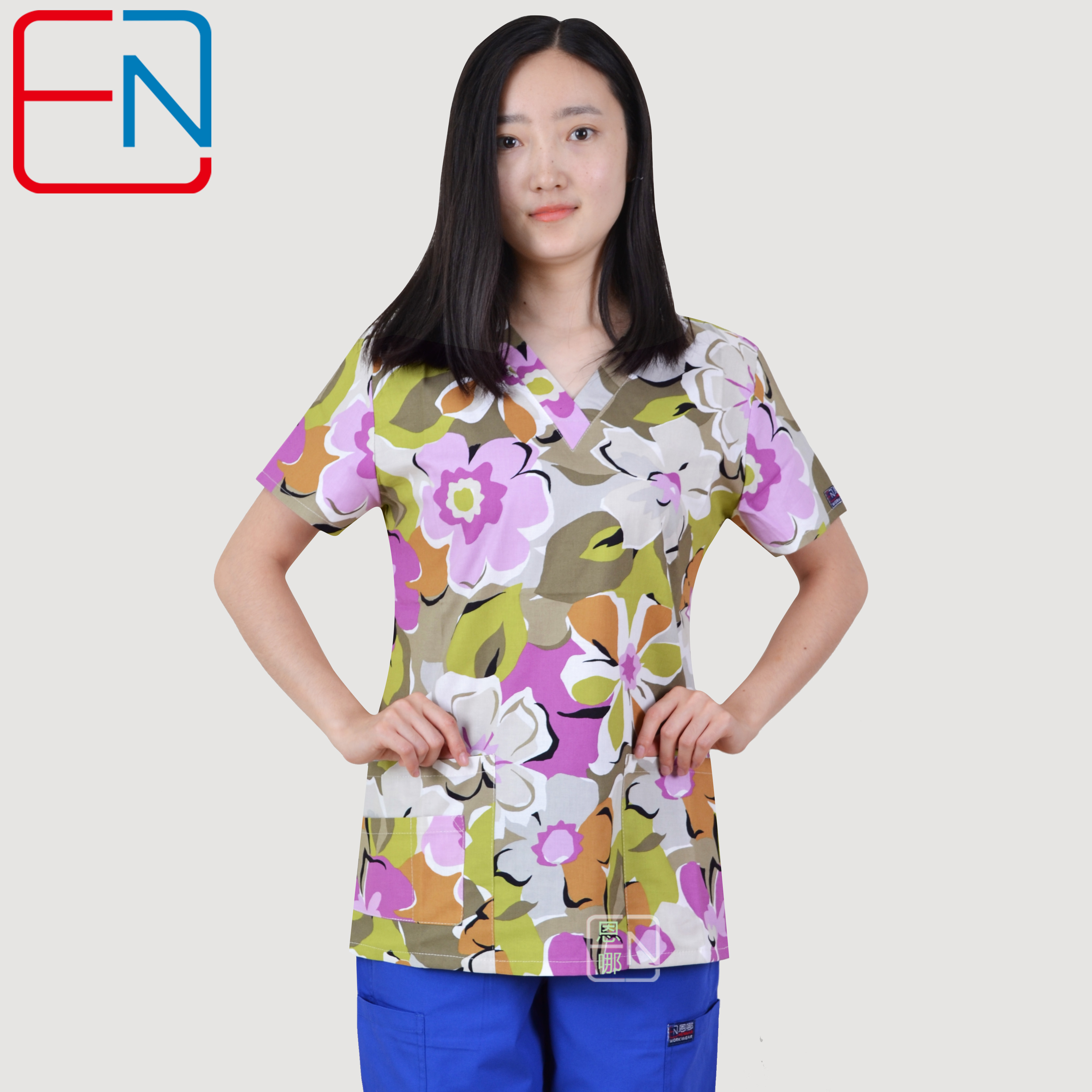 Hennar Women Print Medical Uniform Scrubs Tops Nurse Nursing Clinic Accessories Hospital Medico Clothing Surgical Suit