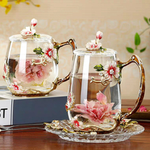 Taza de café esmaltada de belleza y novedad, tazas de vidrio para té con flores para bebidas calientes y frías, juego de cucharas y tazas de té, regalo de boda perfecto