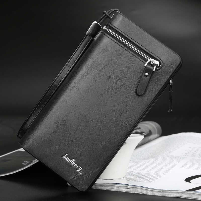 Baellerry Fahion Top Qualität Männer Brieftaschen Schwarz Schlanke Handy Männer Kupplung Taschen Leder Karte Halter Lange Geldbörsen und Brieftasche