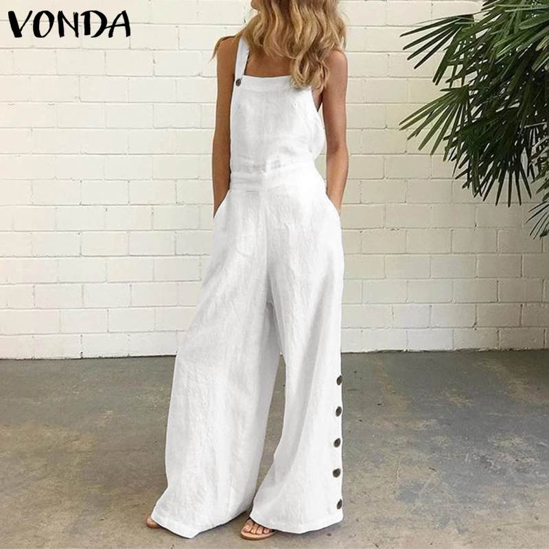 Summer Women Rompers 2020 VONDA Women <font><b>Sexy</b></font> Sleeveless Casual Loose Solid Color Party Playsuits <font><b>Femme</b></font> OL Office Overalls <font><b>5XL</b></font> image