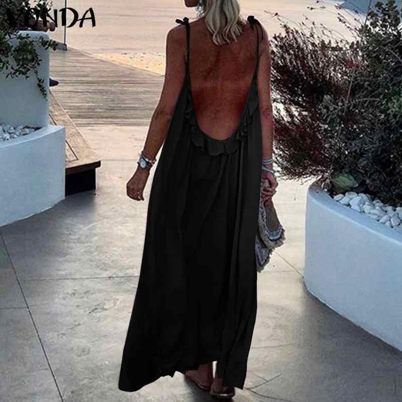 VONDA 여름 드레스 2020 여성 섹시한 민소매 등받이 긴 맥시 드레스 플러스 사이즈 보헤미안 비치 Sundress 캐주얼 Vestidos S-5XL