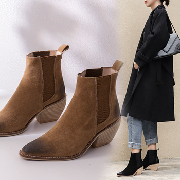 2020 Winter Genuine Leather Ankle Boots for Women Chunky High Heel Slip On Ladies Shoes Pointed Toe Black Martin Boots Females black ankle boots for women chunky boots high heel autumn winter pointed toe booties woman fashion zipper black boots 2019