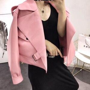 Image 3 - 革のジャケットの女性プラスサイズのシープスキンのコート 2020 atutmn冬のコートやジャケット女性カジュアル女性のオーバーコート