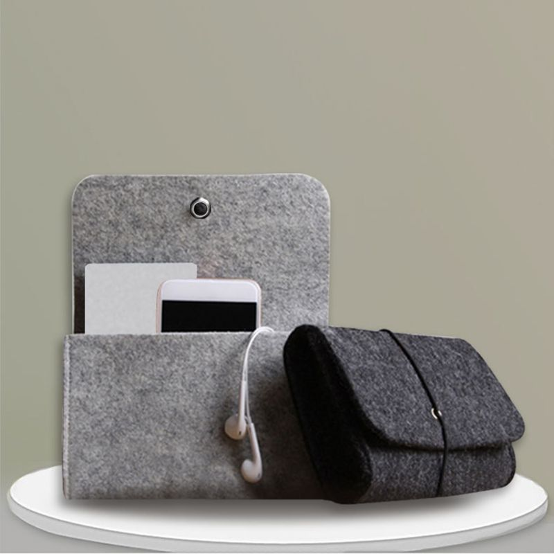 Soft Felt Protective Sleeve Portable Storage Bag Pouch For Charger Mouse Power Adapter Carrying Case