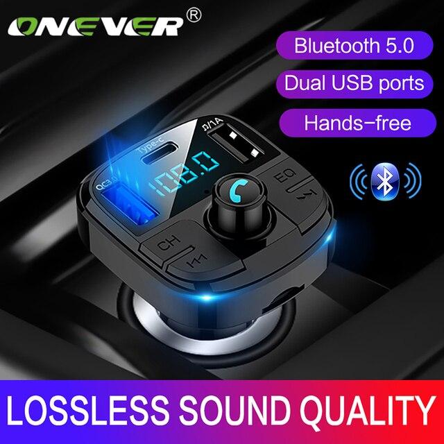 Onever Bluetooth 5.0 zestaw samochodowy z nadajnikiem Fm MP3 Modulator ładowarka samochodowa QC3.0 podwójne USB z ekranem LED kraty tryb EQ 2019 nowy
