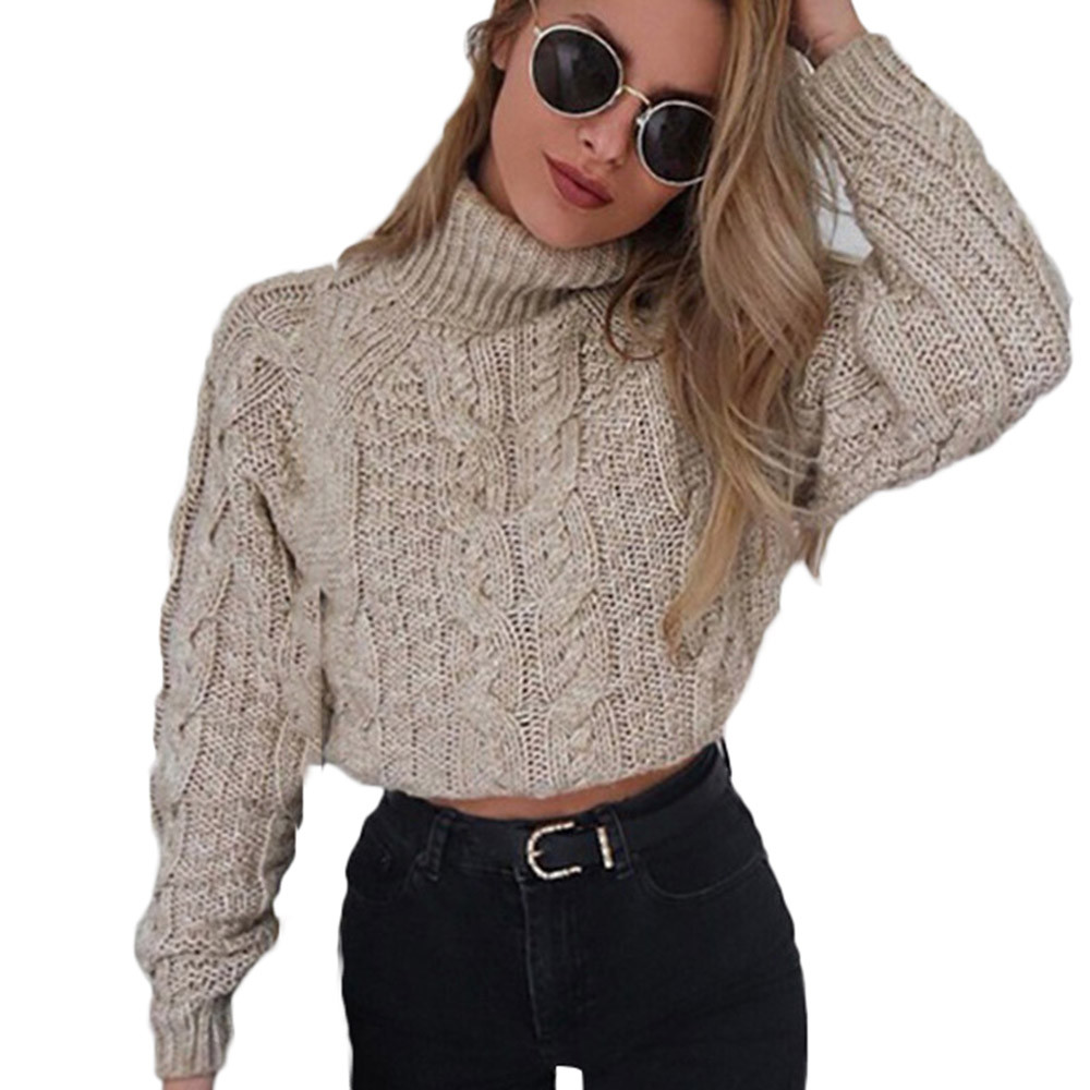 Jaycosin Women Winter High Collar Sexy Umbilical Twist Casual Knitted Sweater Elegant O-neck Comfortable Chic Blouse Pullovers