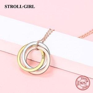 Image 5 - Strollgirl collar de plata de ley 925 con colgante personalizado, palabras personalizadas y fecha, collar de 3 círculos con cierre, joyería para mujer.