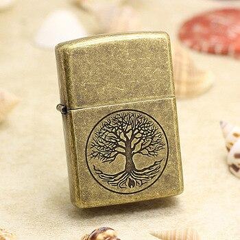 Genuine Zippo oil lighter copper windproof Tree of life Bronze color cigarette Kerosene lighters With anti-counterfeiting code