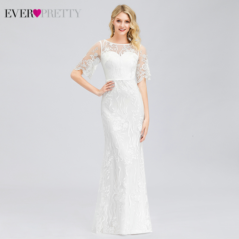 Elegant White Prom Dresses Long Ever Pretty O-Neck Lace Half Sleeve Illusion Mermaid Dresses For Party Vestidos De Gala 2020