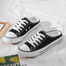 New 2020 Spring Summer Women Classic Solid Color Canvas Shoes Flat Sneakers Casual Low Upper Lace Up NVX223