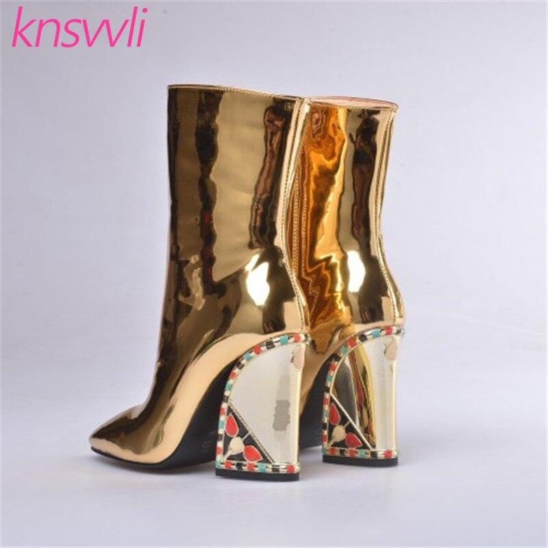 Knsvvli nouvelles bottes de piste strass Chunky talons hauts bottines femmes or miroir Surface chaussures d'hiver femme Chelsea bottes - 2