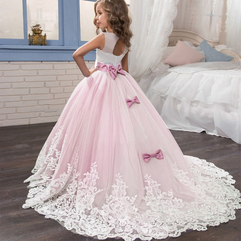 2020 Girls Summer Dress Flower Tail Lace PrincessDresses Baby Kids Clothes Evening First Communion Dresses Vestido LP-231