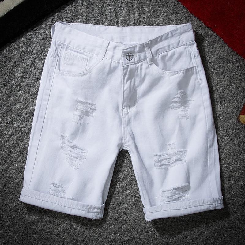Mens Workout Shorts White Denim Shorts New Summer Men Holes Short Jeans Men Cotton Stretches Casual Denim Shorts
