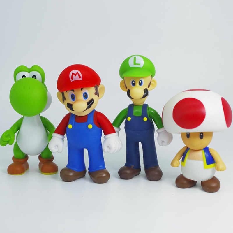 10 13cm Anime Game Super Mario Figures Toy Pvc Characters Bowser