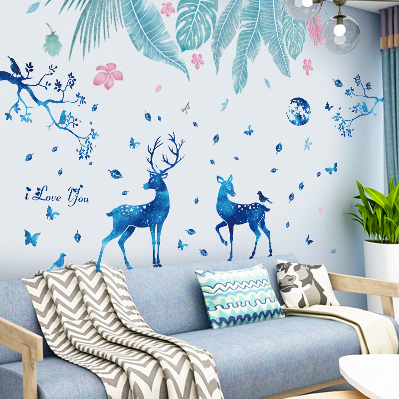 Nordic Style Ins Door Stickers Self-adhesive Bedroom Living Room Room Wall Decorations Fresh Green Plants Wall Stickers