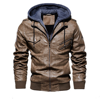 NEW Mens PU Leather Outwear Hoodie Motorcycle Coat Biker Style for Fall Winter Warm Coat