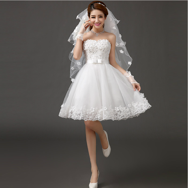 New white short knee length lady girl fairy wedding bridal dress party evening dancing performance dress free shipping 4
