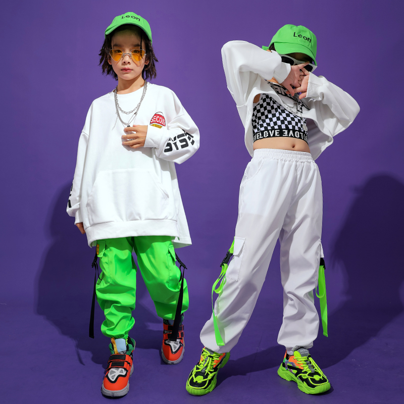 Loose Hip Hop Dance Costumes Kids Printing Jazz Stage Rave Outfit Long Sleeve Street Dance Practice Performance Clothing DC3101