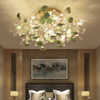Nordic Crystal Flower Ceiling Lamp Modern Ceramic LED Ceiling Lights Attic Living Room Hanging Bedroom Hotel Decorative Lamps led fashion modern crystal floor lamp living room lights bedroom lamps crystal french modern stand lights crystal stand lamp