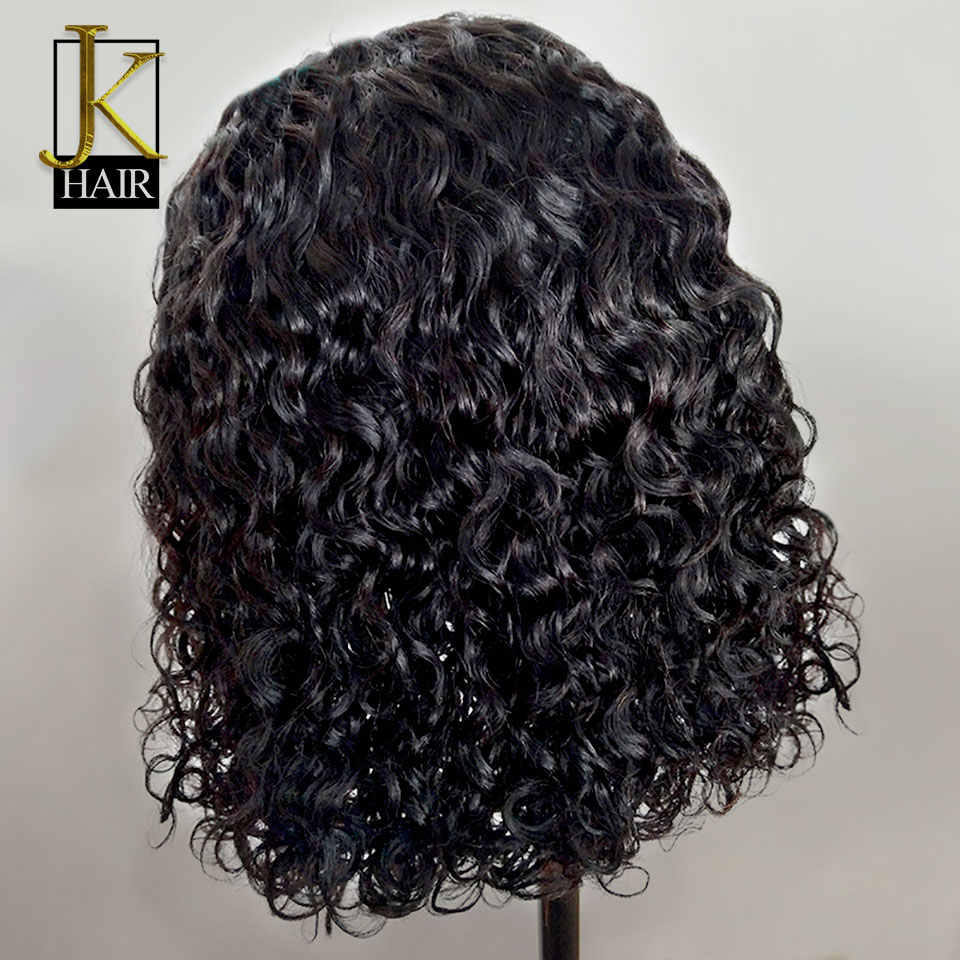 Pelucas de pelo humano de encaje rizado Bob para mujeres Color Natural Remy brasileño 13x4 Peluca de encaje negro medio parte 130-150% K elegante