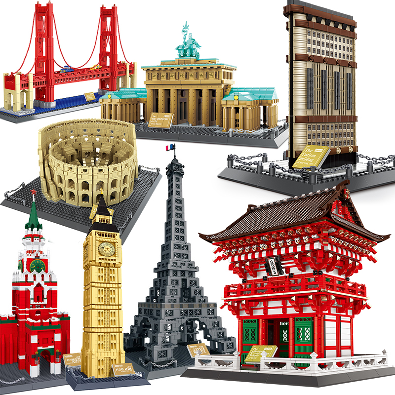 City Architecture model building blocks studio Temple Taj Mahal Big Ben Eiffel Tower London New York Germany construction toys(China)