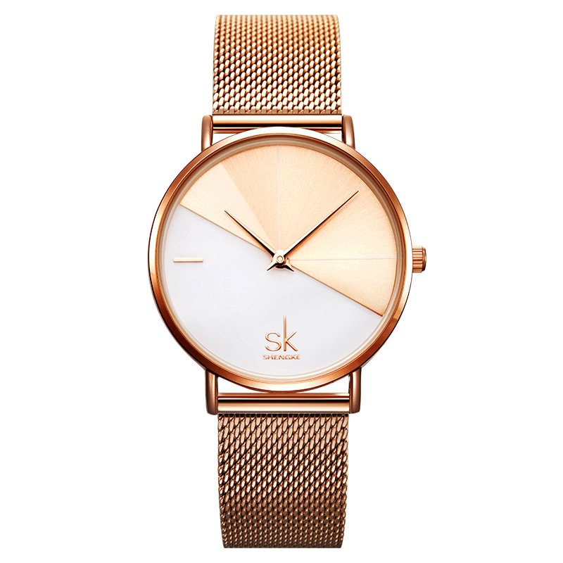 SHENGKE Luxury Rose Gold Women Watches Mix Color Gold White Simple Minimalism Elegant Lady's Wristwatch Gift For Gilrs