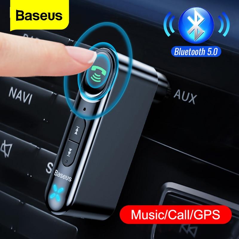 Baseus Car AUX Bluetooth 5.0 Adapter 3.5mm Jack bezprzewodowy odbiornik Audio zestaw głośnomówiący zestaw samochodowy Bluetooth do telefonu Auto nadajnik