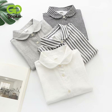 GOPLUS Shirt Vintage Tops Female Double Layer Striped Black White Blouse Women O-neck Korean Blouses Ropa De Dama Casual C10530