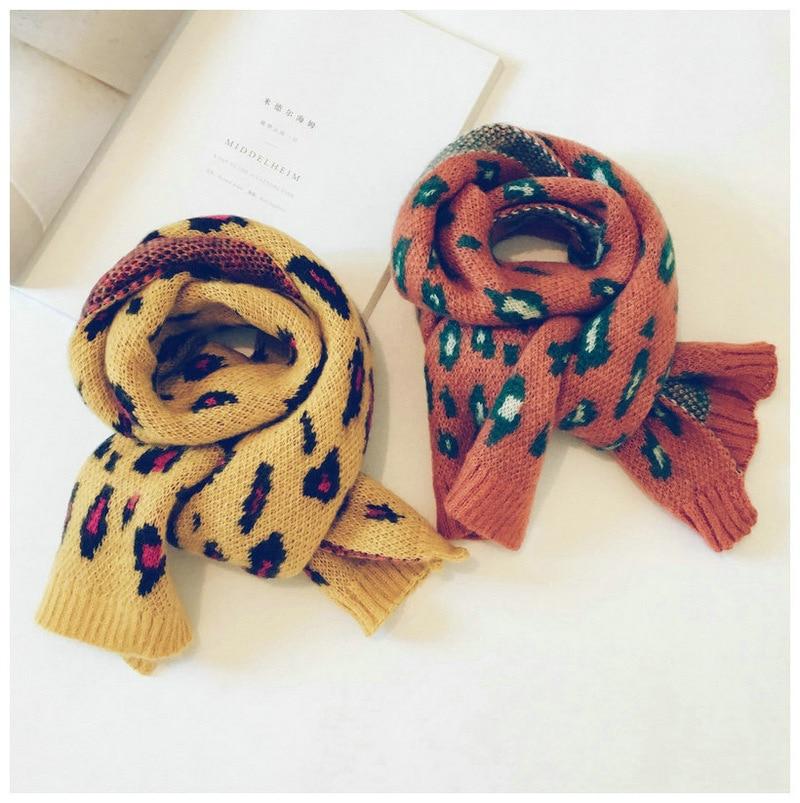 Korean Knit Wool Leopard Girls   Scarf   Pattern Wool Shawls Soft Warm Autumn Winter Thick Children Boys   Wraps     Scarves   Accessories
