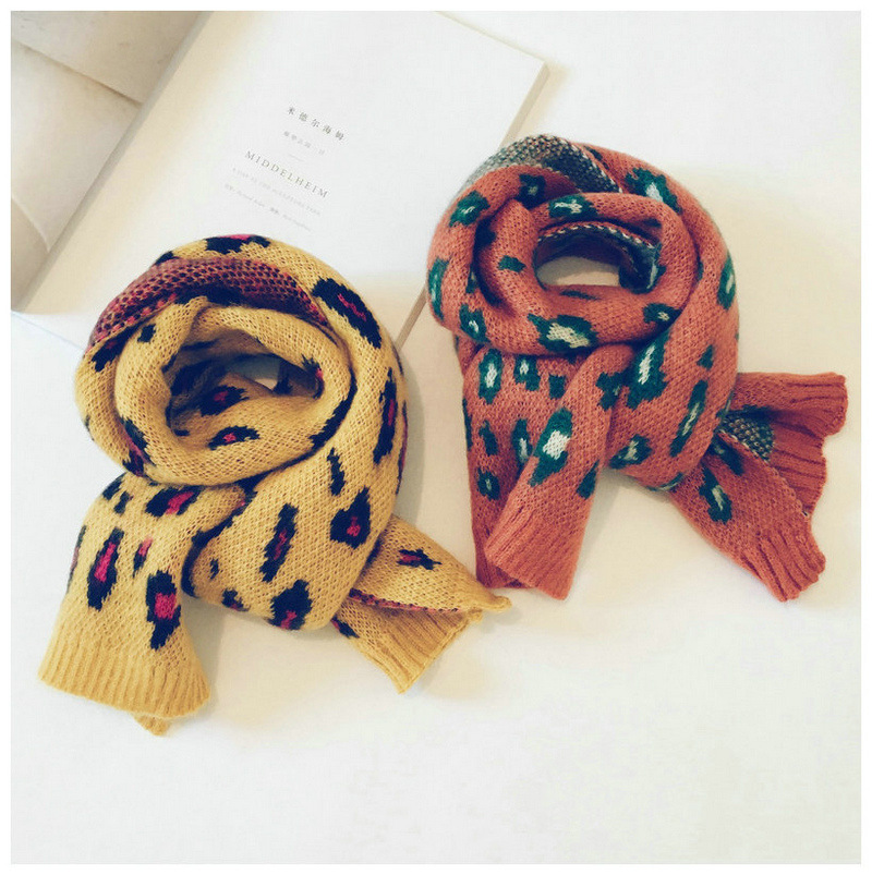 Korean Wool Leopard Tassel Girl   Scarf   Pattern Wool Shawls Soft Warm Autumn Winter Thick Children Boys   Wraps     Scarves   Accessories