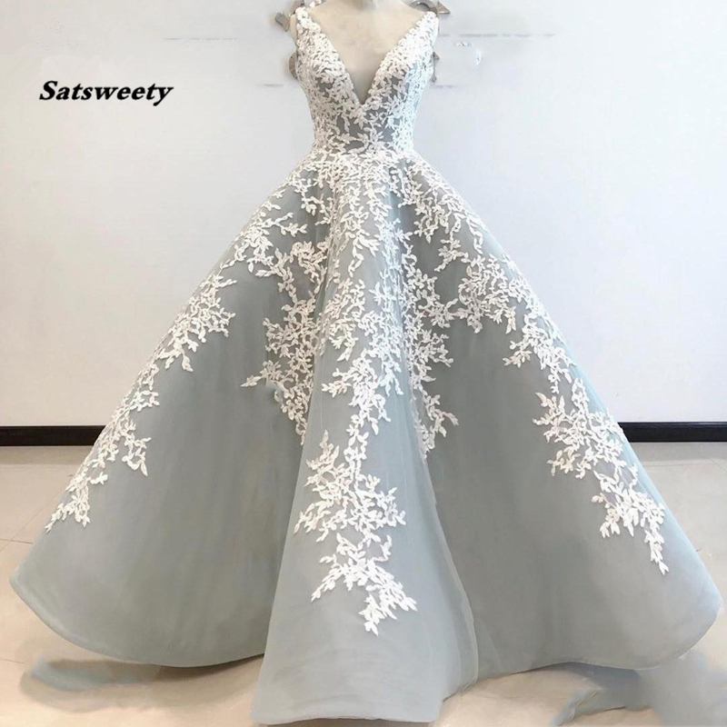 Silver Muslim Evening Dresses 2020 Ball Gown V-neck Tulle Appliques Islamic Dubai Saudi Arabic Long Evening Gown Lace Prom Dress