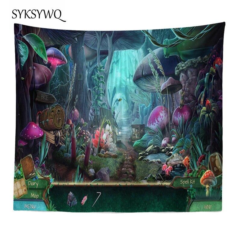 Trippy tapisserie tapis mural décoration de la maison champignon psychédélique tapisserie tapis mural tissu mural
