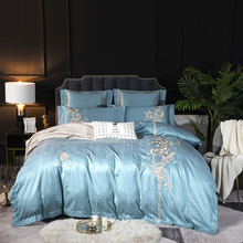 Evich New 80 Royal Luxury Satin 100% Cotton Sanding Jacquard Four-piece Set Simple European Embroidery Bed 4 Sets 1.8x 2.0 Bed