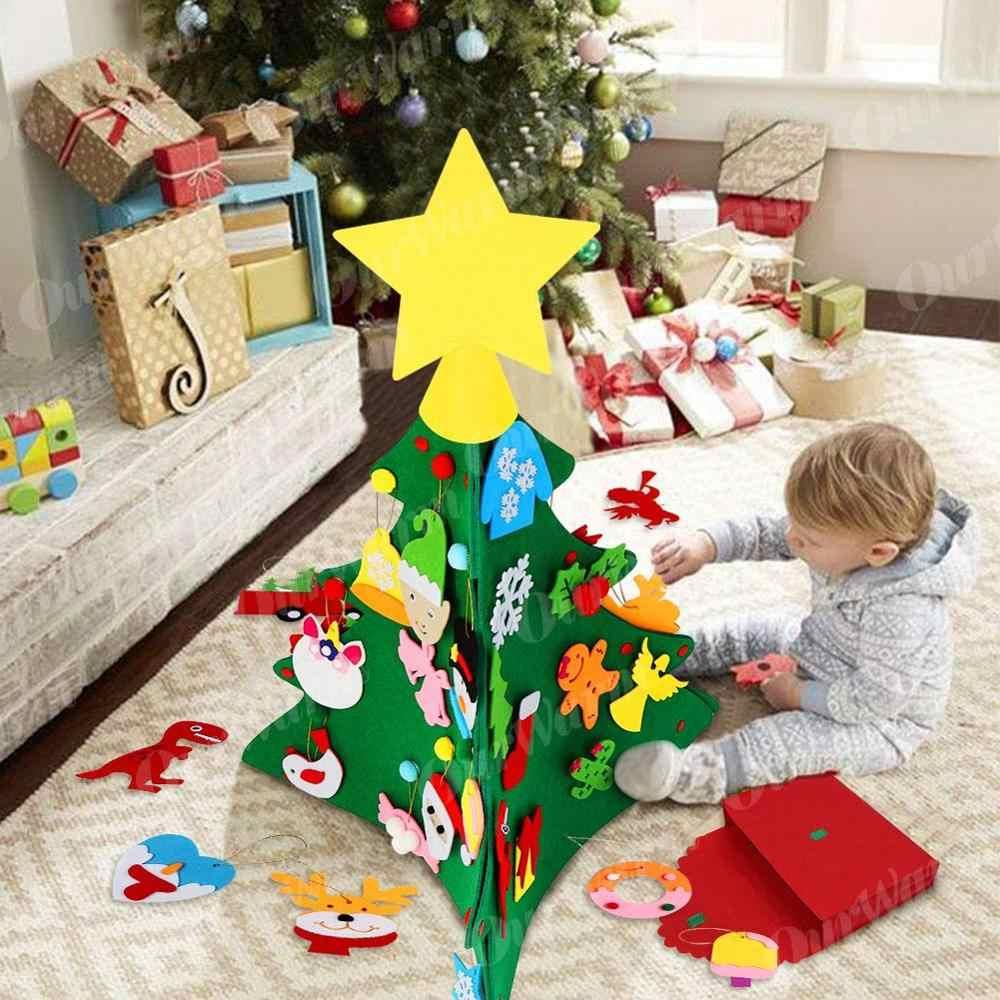 Ourwarm atualizado 3d diy sentiu criança árvore de natal 2020 presente do ano novo brinquedos educativos pendurado pingente natal festa suprimentos