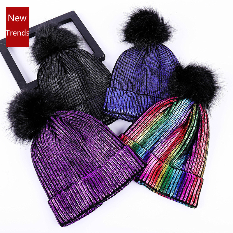 New Knitted Women Beanies Hat Fur Pompom Paillette Bling Hat Winter Girl Keep Warm Bling Beanie Cap Chapeu Feminino Pom Pom Hats