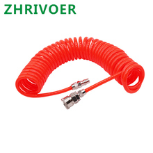 цена на Flexible PU Recoil Hose Tube for Compressor Air Tool Collocation Fittings Spring Pipe 3M 6M 9M 12M 15M OD 8mm x ID 5mm