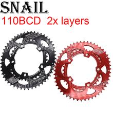 Salyangoz 110 BCD Oval 50T 35T çift zincir yüzük 2 katmanlı hız katlanır yol bisikleti Ultralight diş plakası 110BCD