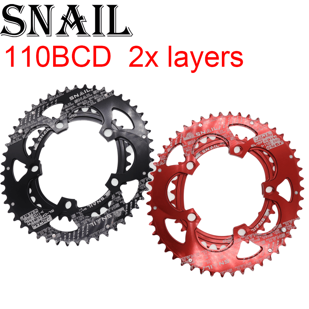 Snail <font><b>110</b></font> <font><b>BCD</b></font> <font><b>Oval</b></font> 50T 35T Double Chain ring 2 Layer Speed Folding Road Bike Ultralight Tooth plate 110BCD image