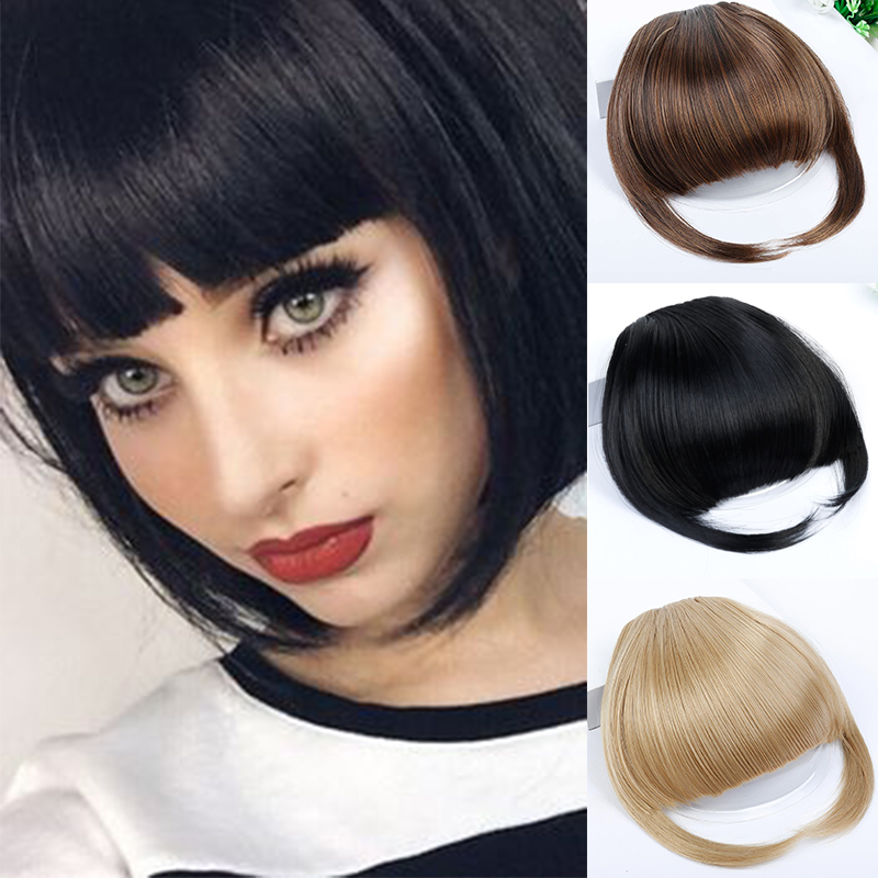 MUMUPI Natural Blunt Bangs Clip-In Dark Light Brown Black Synthetic False Hair Fringe Pure Colors 6