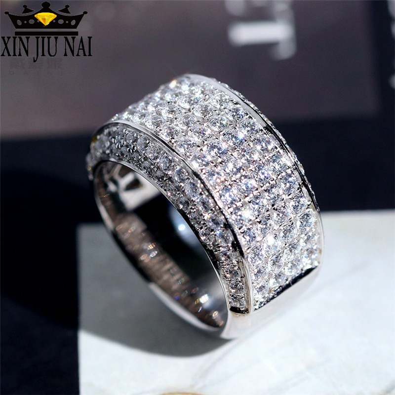 Мужское кольцо из чистого серебра 18 К, с имитацией бриллиантов 3 карата