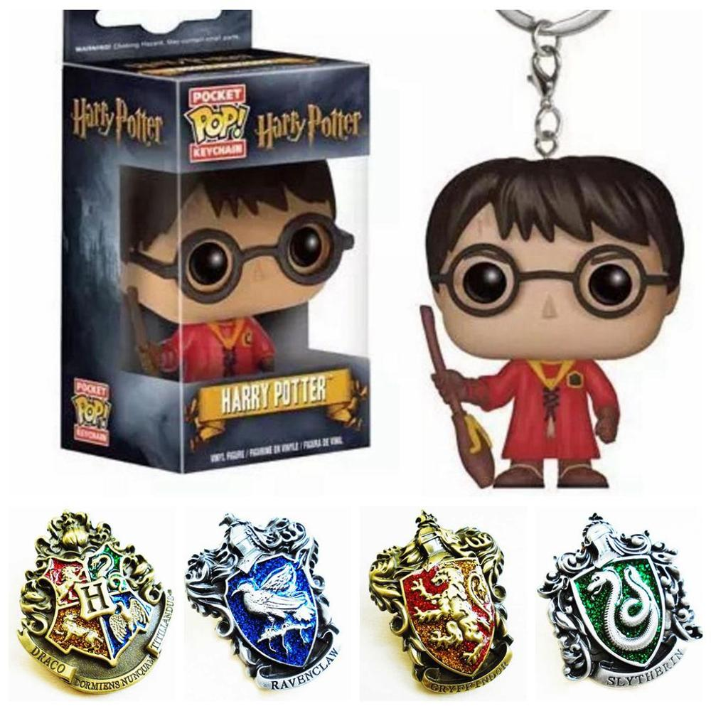 Harri Potter Hogwart Gryffindor Slytherinn Ravenclaww Hufflepuf Symbol Metal Badge Pin Brooch Chest Button Action Figure Toys