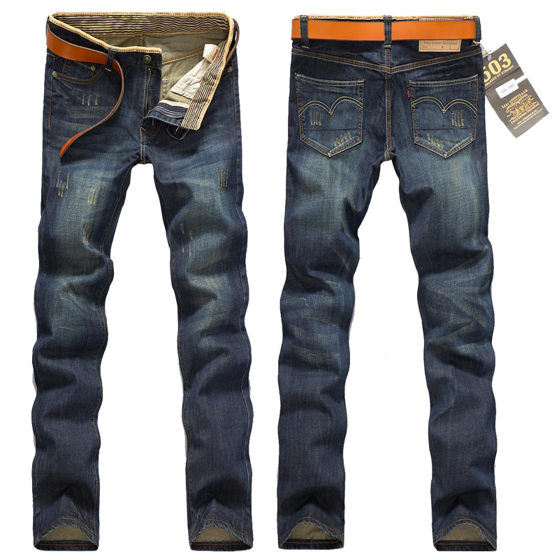 Men Retro Jeans Men's Straight-Cut Autumn Slim Fit Long Pants Fashion Men's