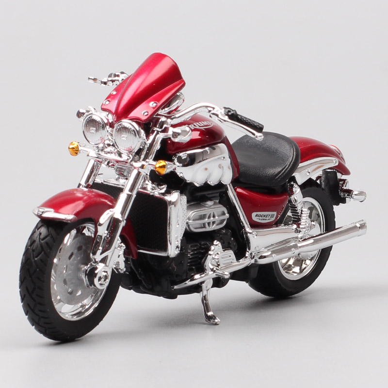 1/18 Scale Bburago Triumph Rocket 3 Trident Cruiser Motorcycle Diecasts & Toy Vehicles Toy Tour Bike Roadster Moto Bike Kids Boy