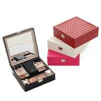 PU Leather Jewelry Box Watch Case Earrings Rings Jewelry Storage Case Trinket Organizer Travel makeup portable jewelry box