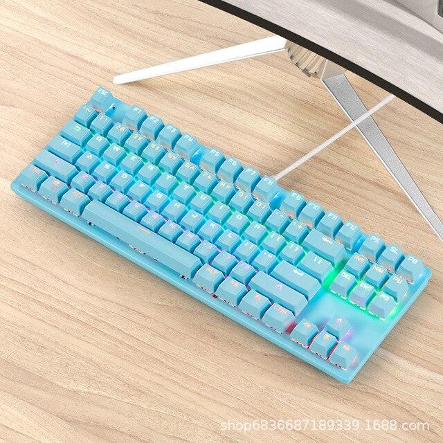 Gaming Mechanical Keyboard Game Anti-ghosting  RGB Mix Backlit Blue Switch 87key teclado mecanico For Game Laptop PC