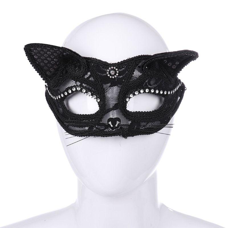 Halloween Cat Half Mask