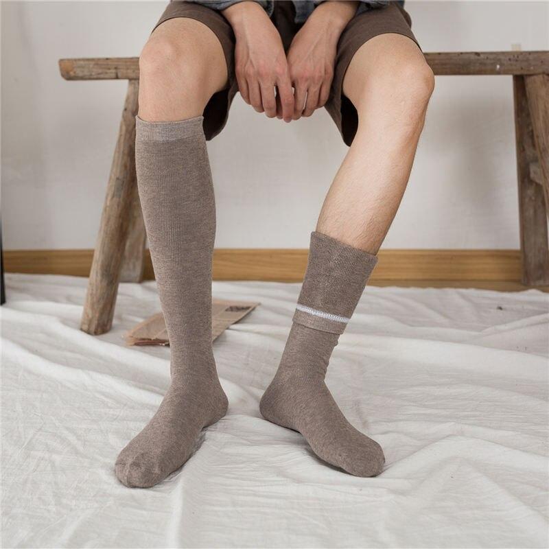 Warm Men Socks For Man Winter Harajuku Sheer Solid Halloween Fluffy Sock Black Khaki Streetwear Stitch Long Sock Thick Office