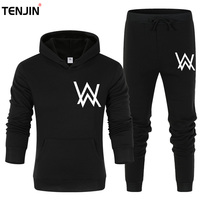 Brand W Men's Set Fashion Sportswear Tracksuits Sets Men Clothes gyms Hoodies+Pants Sets casual Outwear sport Suits Fleece Thick