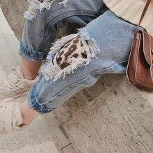 Осень-зима, Новое поступление, Детские Модные леопардовые рваные джинсы, детские джинсовые шаровары, детские джинсы для девочек