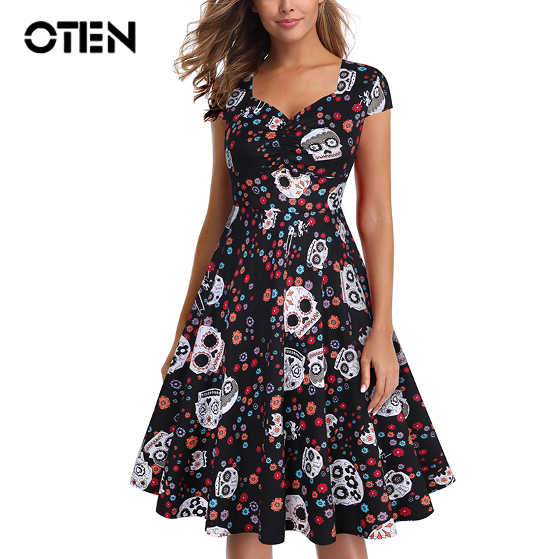 OTEN Summer Skater Dress Elegant Vintage Red Sugar Skulls Flower Print 50s Rockabilly Evening Party Plus Size Halloween Dresses